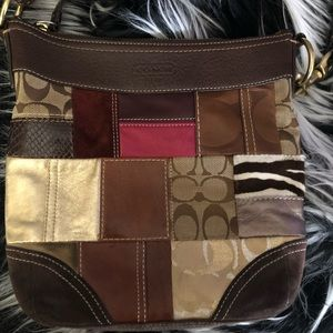 👜 Coach patchwork crossbody brown leather